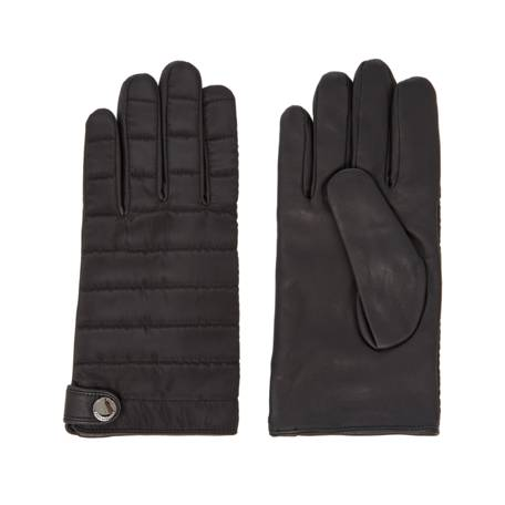 Kenneth Cole Quilted Nylon And Leather Gloves