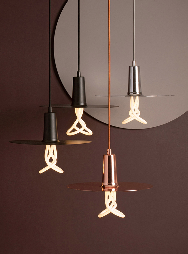 Plumen bare bulb twist pendant lights
