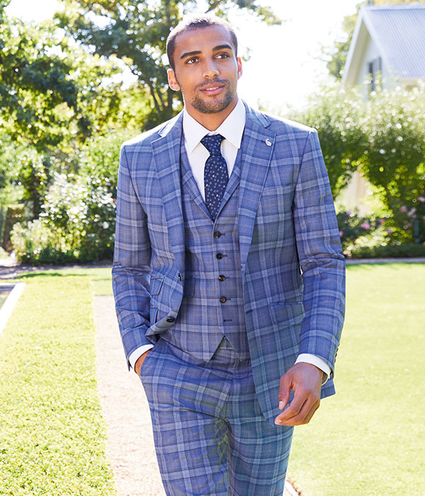 Men wearing checked suit